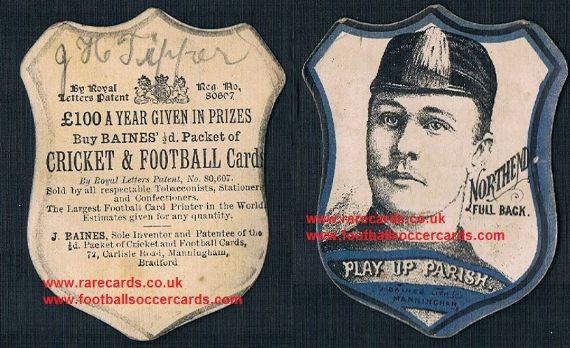 1880's Parish Northend full back rugby card by Baines Litho Manningham